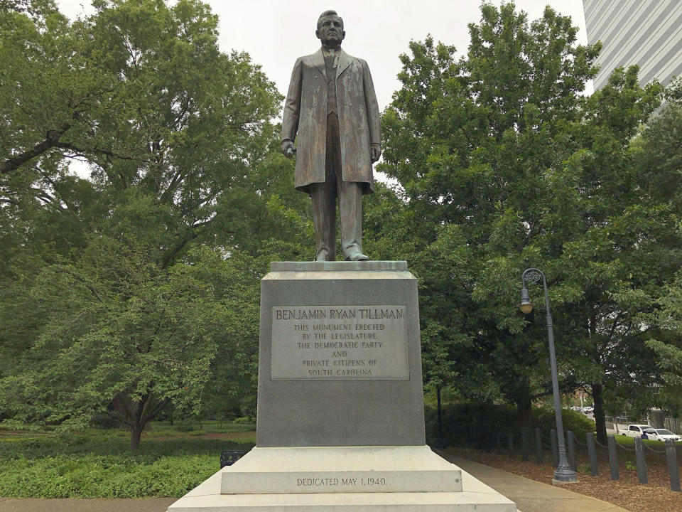 A statue of Ben Tillman outside the South Carolina Statehouse in Columbia, S.C.
