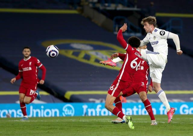 Bamford, right, struck the crossbar with this effort against Liverpool last month