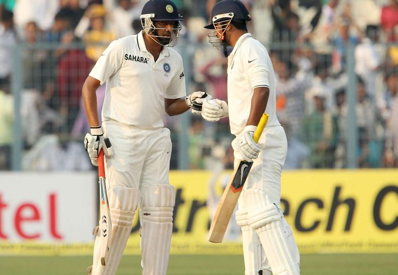 R.Ashwin and Pragyan Ojha punch gloves on Day 4 of the fourth cricket Test between India and England at the Jamtha Stadium in Nagpur, Sunday,   December 16, 2012. (c) BCCI
