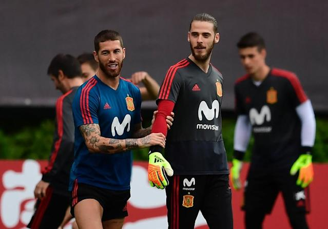 Spain captain Sergio Ramos with David De Gea at a training session at the weekend (AFP Photo/PIERRE-PHILIPPE MARCOU)