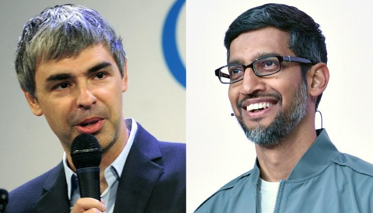 """Sundar Pichai (R) takes over the Larry Page as CEO of Alphabet, the holding company which inlcudes Google and a number of projects known as """"other bets"""" (AFP Photo/Emmanuel DUNAND, Josh Edelson)"""