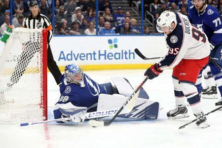 Apr 12, 2019; Tampa, FL, USA; Columbus Blue Jackets center Matt Duchene (95) scores a goal on Tampa Bay Lightning goaltender Andrei Vasilevskiy (88) during the second period of game two of the first round of the 2019 Stanley Cup Playoffs at Amalie Arena. Mandatory Credit: Kim Klement-USA TODAY Sports