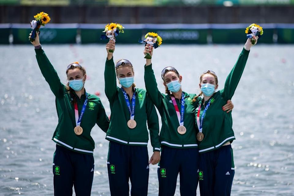 Aifric Keogh, Eimear Lambe, Fiona Murtagh and Emily Hegarty of Ireland with their medals.