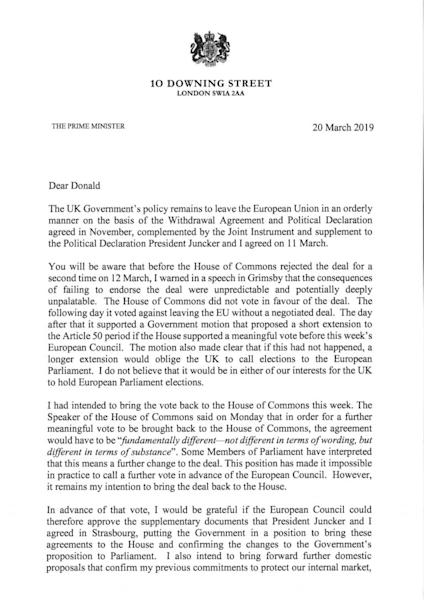 Theresa May's Brexit letter to Donald Tusk: what she said – and what she really meant