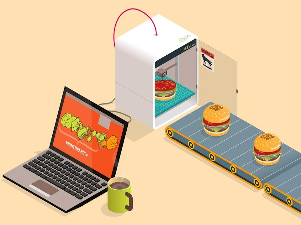Illustration of food being printed from a machine (Getty Images)