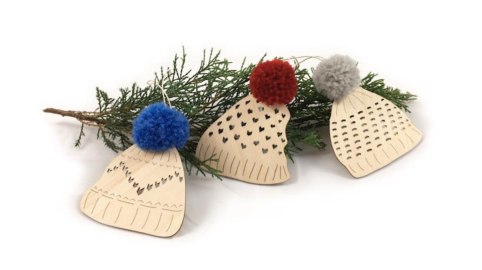 Toque Ornaments, set of 3 by Henry Dry Goods Co, $30.