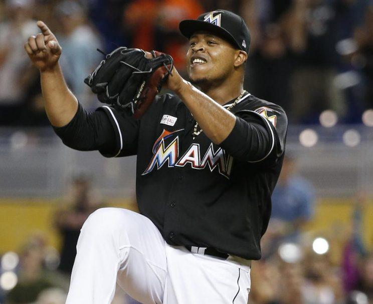 Edinson Volquez celebrates after the final out of his no-hitter against the Arizona Diamondbacks. (AP)