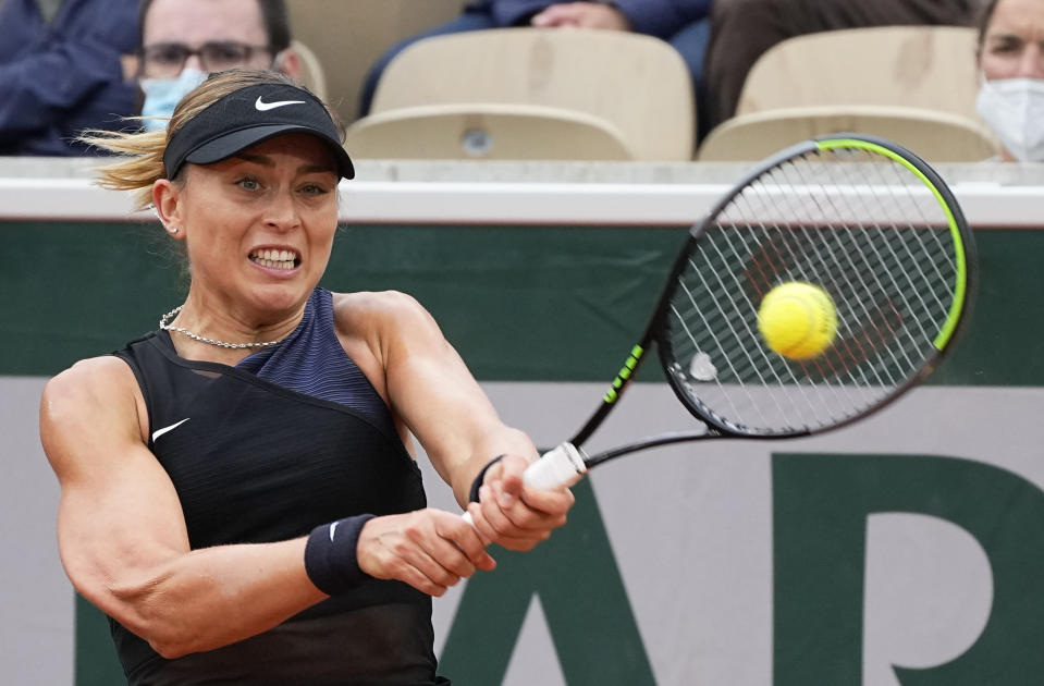 Spain's Paula Badosa playes a return to Romania's Ana Bogdan during their third round match on day 6, of the French Open tennis tournament at Roland Garros in Paris, France, Friday, June 4, 2021. (AP Photo/Michel Euler)