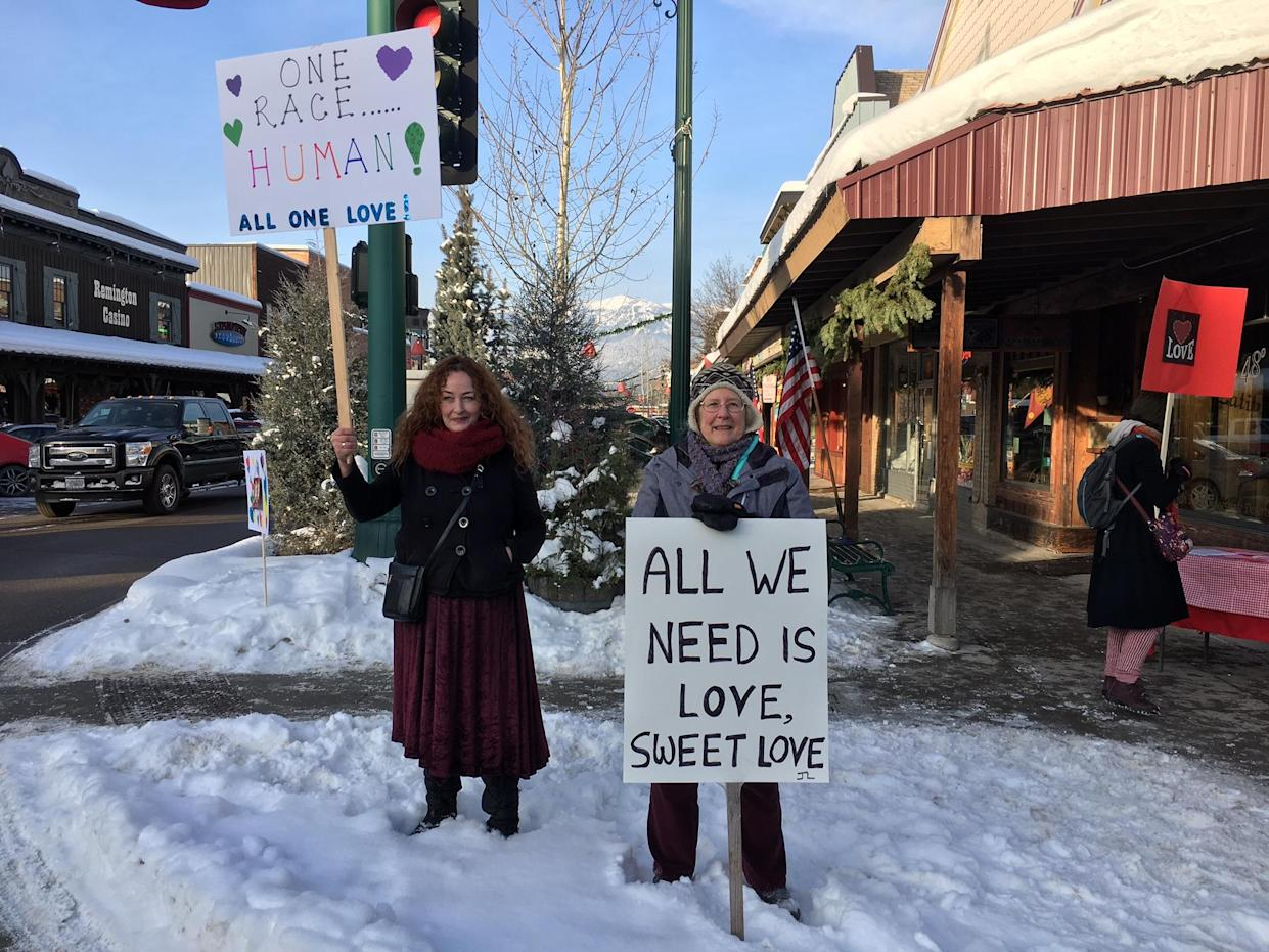 Whitefish residents stood for hours on the corner of Central and Second, just in case any white supremacists showed up. (Photo: Andrew Romano/Yahoo News)