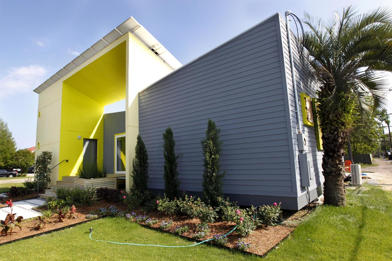 ADVANCE FOR WEEKEND EDITIONS APRIL 21-22 - In a Thursday, April 5, 2012 photo, the Roese Sunshower SSIP house is seen in New Orleans. The house is meant to go up quickly after disasters and then serve as permanent housing that can withstand future calamities. It's designed to be environmentally friendly, survive outside damaged utility grids and can be shipped in pieces in a single container and assembled like an erector set. (AP Photo/Gerald Herbert)