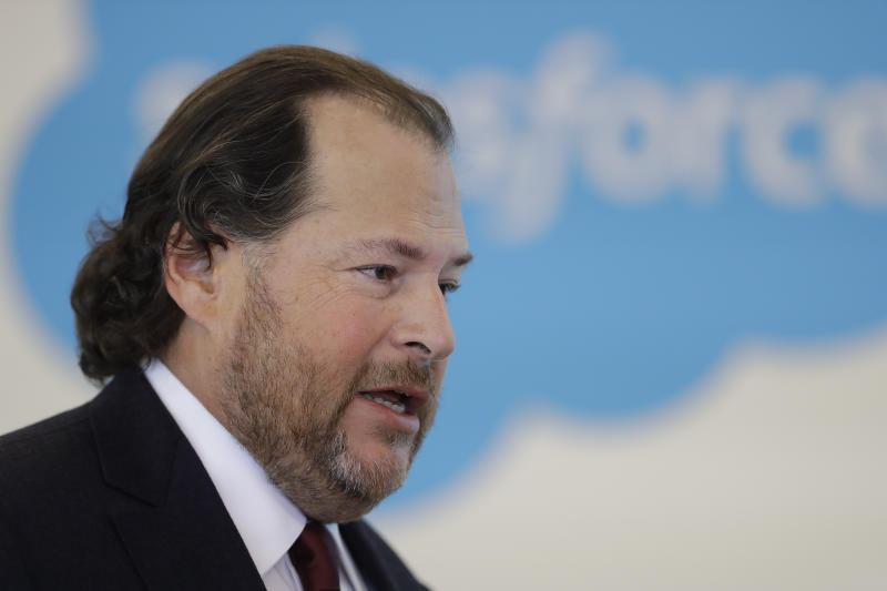Salesforce chairman Marc Benioff speaks during a news conference, Thursday, May 16, 2019, in Indianapolis. The business software company said it aims to provide skills training to 500,000 people as part of a Trump administration push to boost career opportunities among Americans. (AP Photo/Darron Cummings)