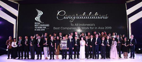 The Indonesia Edition of the HR Asia Best Companies to Work for in Asia(R) 2019 at JW Marriott Hotel Jakarta. 34 companies qualified this year out of the 280 participating companies.