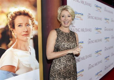 "Actress Emma Thompson attends the film premier of ""Saving Mr. Banks,"" at the Walt Disney Studios in Burbank, California, December 9, 2013. REUTERS/Kevork Djansezian"