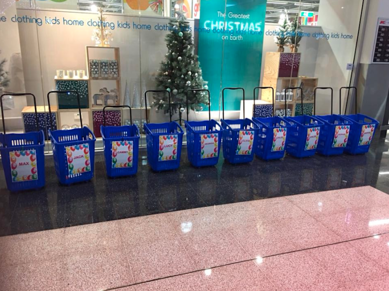 The kids were told to arrive at Kmart at 5pm, where they were given these baskets on wheels. Photo: Facebook/Kmart Mums Australia
