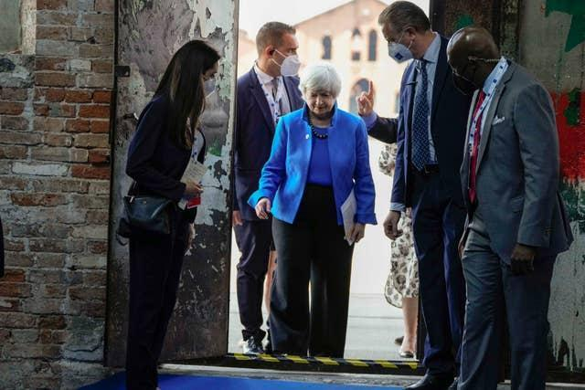 US secretary of the treasury Janet Yellen arrives to attend a press conference at a G20  meeting in Venice, Italy