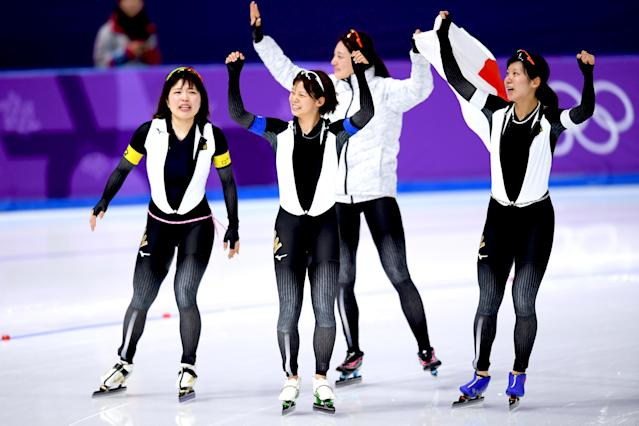 <p>Japan's Ayano Sato, Nana Takagi, Ayaka Kikuchi, and Miho Takagi celebrate after winning the gold medal during the Speed Skating Ladies' Team Pursuit Final A against the Netherlands on day 12 of the PyeongChang 2018 Winter Olympic Games, February 21, 2018. (Photo by Harry How/Getty Images) </p>