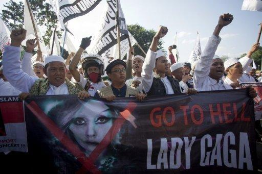"Islamic hardliners in Jakarta called Lady Gaga a ""devil's messenger"" who wears only a ""bra and panties"" on stage"