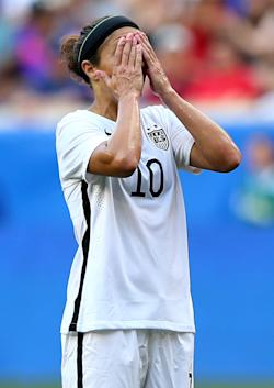 Carli Lloyd reacts after a missed shot against South Korea. (Getty Images)