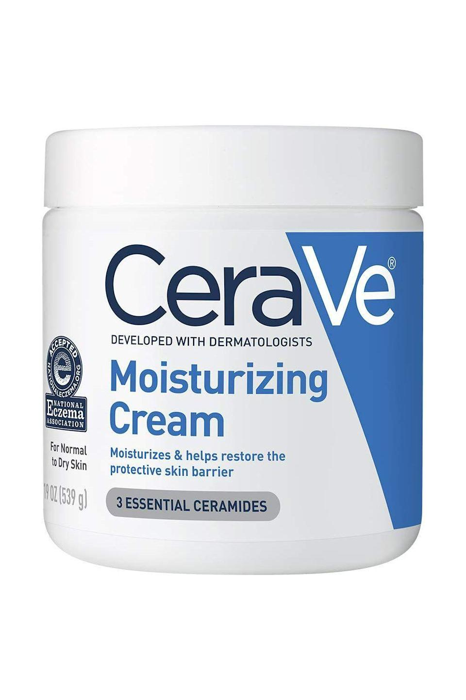 """<p><strong>CeraVe</strong></p><p>amazon.com</p><p><strong>$16.08</strong></p><p><a href=""""https://www.amazon.com/dp/B00TTD9BRC?tag=syn-yahoo-20&ascsubtag=%5Bartid%7C2140.g.35717314%5Bsrc%7Cyahoo-us"""" rel=""""nofollow noopener"""" target=""""_blank"""" data-ylk=""""slk:shop"""" class=""""link rapid-noclick-resp"""">shop</a></p><p>Don't know what <a href=""""https://www.cosmopolitan.com/style-beauty/beauty/g21950910/best-face-moisturizer-skin-type/"""" rel=""""nofollow noopener"""" target=""""_blank"""" data-ylk=""""slk:moisturizer"""" class=""""link rapid-noclick-resp"""">moisturizer</a> to get? Go with this one. It's loaded with hyaluronic acid and ceramides to hydrate your skin and restore its protective barrier all while being fragrance- and oil-free.</p>"""