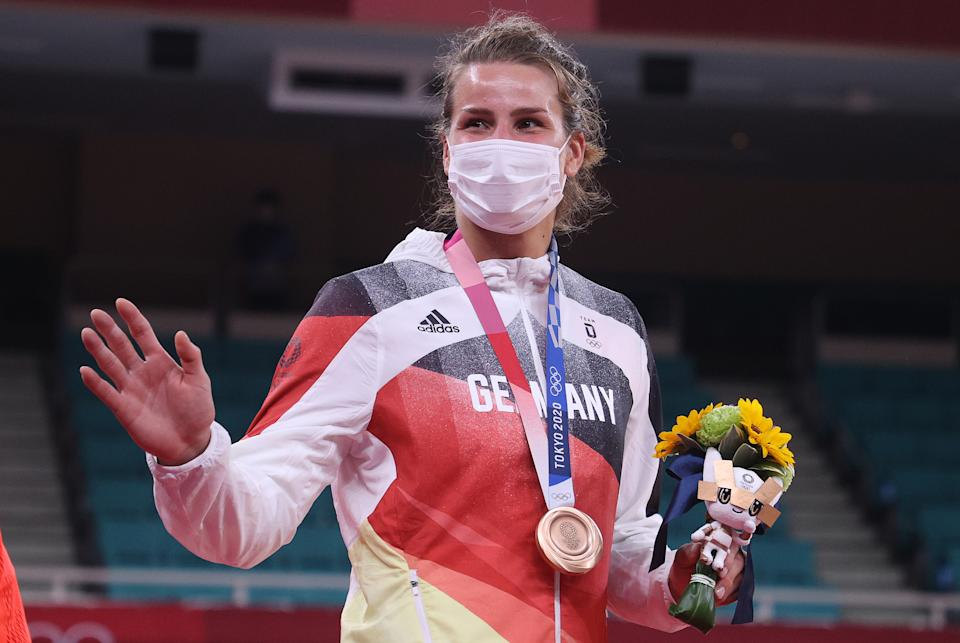 TOKYO, JAPAN - JULY 29: Anna-Maria Wagner of Team Germany poses on the podium with the bronze medal during the medal ceremony for the Women's Judo 78kg event on day six of the Tokyo 2020 Olympic Games at Nippon Budokan on July 29, 2021 in Tokyo, Japan. (Photo by Chris Graythen/Getty Images)