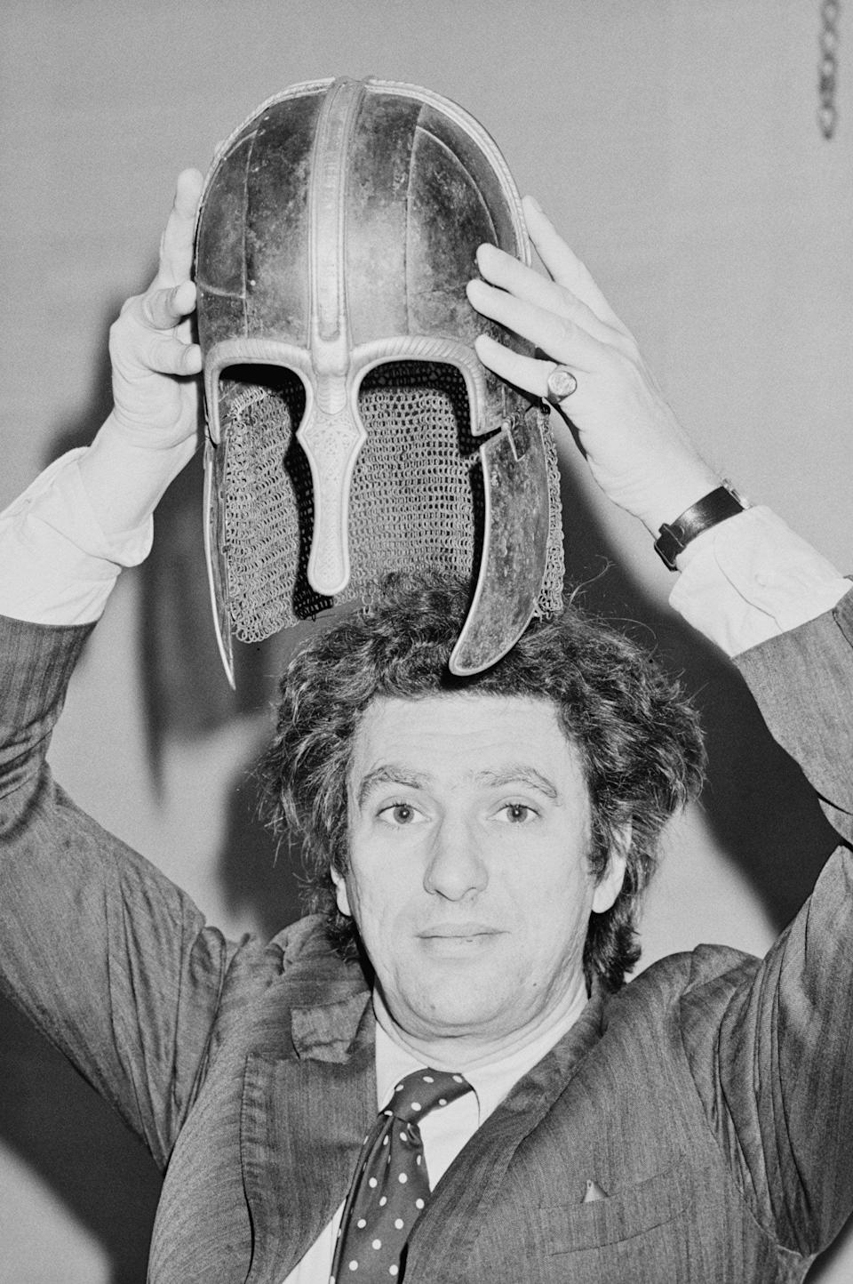 In 1984 with the Coppergate Helmet, an eighth-century Anglo-Saxon artefact that had been discovered in York - United News/Popperfoto via Getty Images/Getty Images