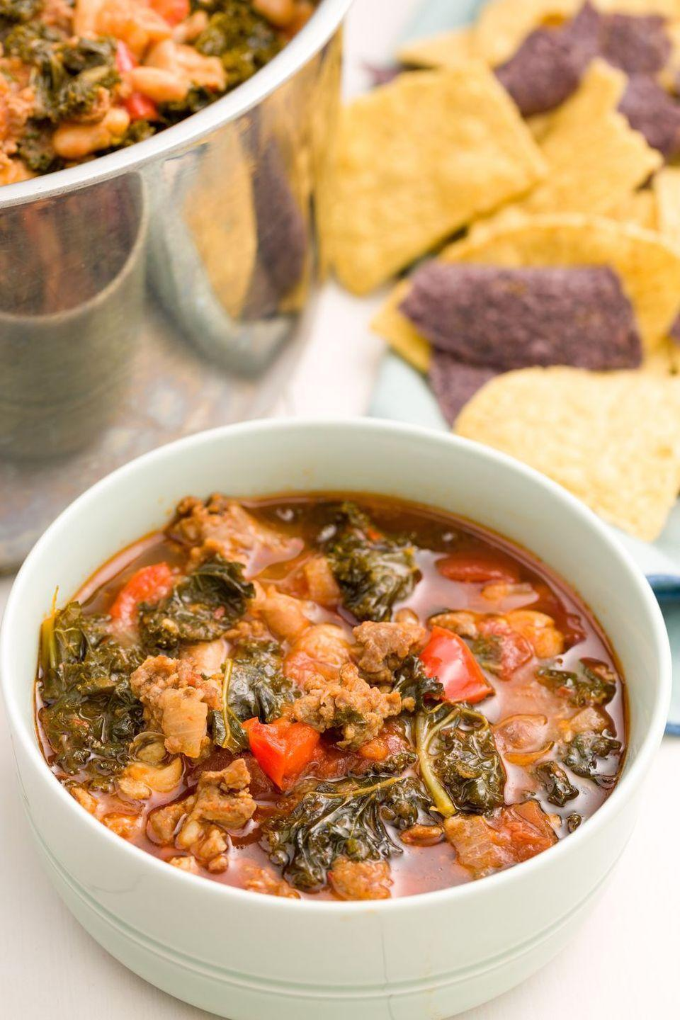 "<p>Add some greens to your meal with this Italian-inspired version.</p><p><em><a href=""https://www.delish.com/cooking/recipe-ideas/recipes/a45520/spicy-turkey-sausage-kale-chili-recipe/"" rel=""nofollow noopener"" target=""_blank"" data-ylk=""slk:Get the recipe from Delish »"" class=""link rapid-noclick-resp"">Get the recipe from Delish »</a></em></p>"