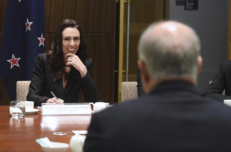 New Zealand's Prime Minister Jacinda Ardern, left, begins bilateral talks with Australian Prime Minister Scott Morrison, in Melbourne, Australia, Friday, July 19, 2019. (Julian Smith/Pool Photo via AP)