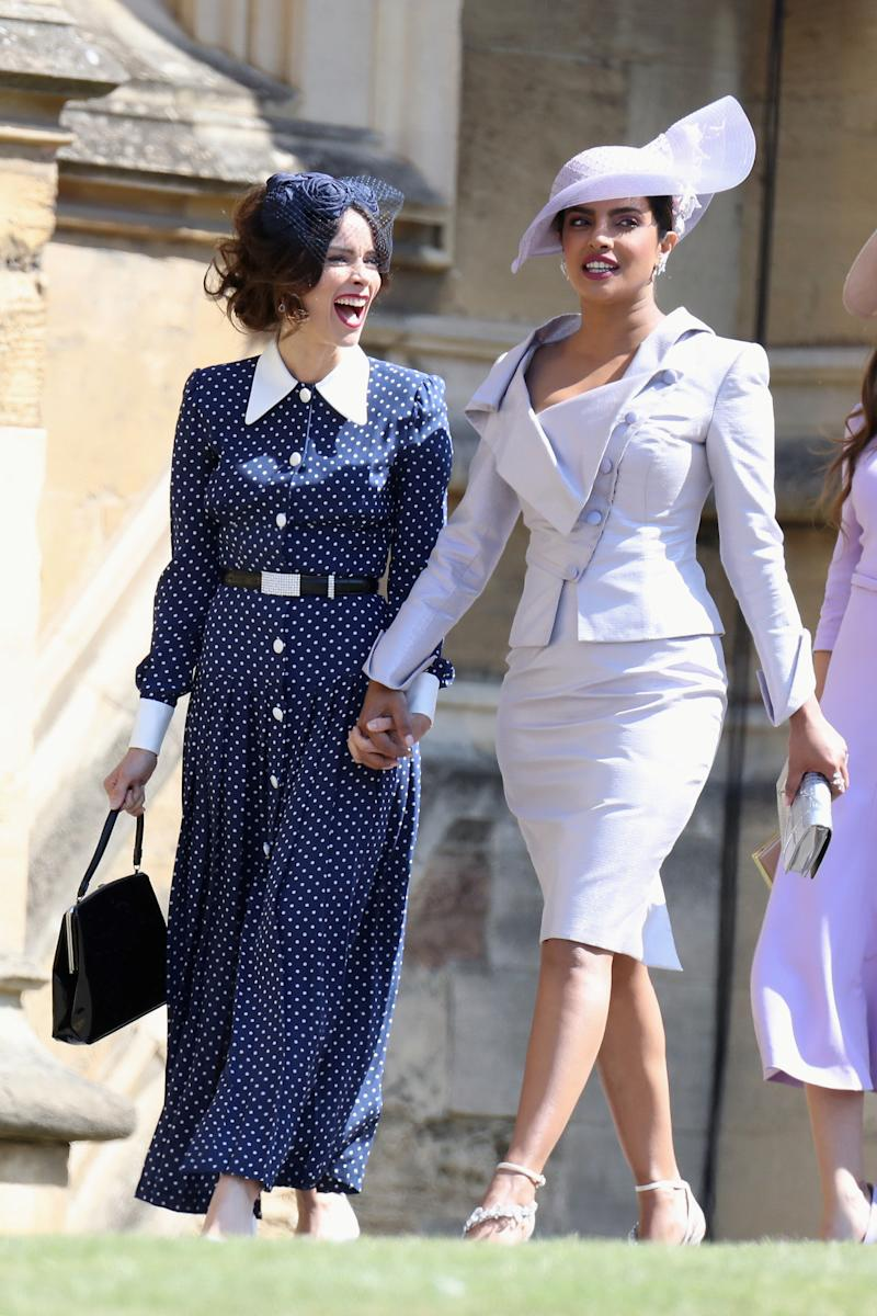 Abigail Spencer and Priyanka Chopra attend the wedding of Prince Harry to Meghan Markle at St George's Chapel, Windsor Castle, Windsor on May 19, 2018. (POOL New / Reuters)