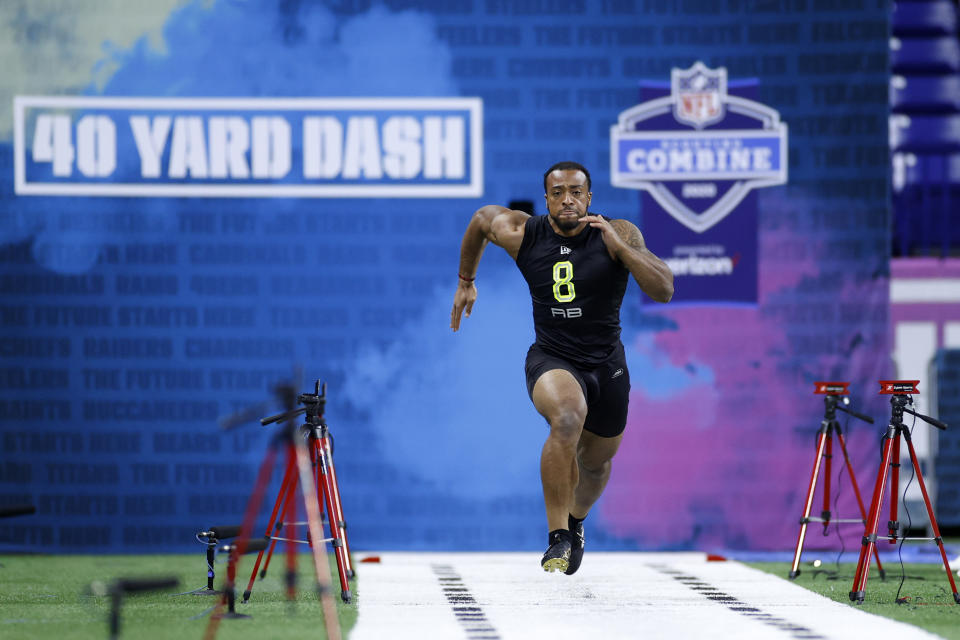 Running back A.J. Dillon of Boston College runs the 40-yard dash during the NFL Combine