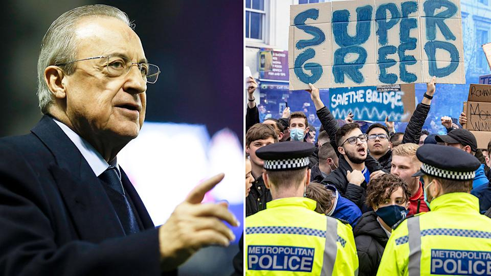 Seen here, Real Madrid president Florentino Perez and fans protesting the Super League.