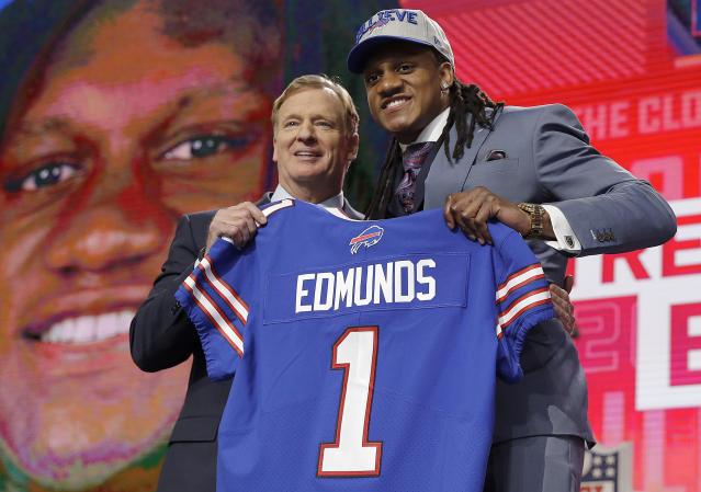 Tremaine Edmunds and his brother Terrell made NFL history on Thursday, becoming the first pair of brothers taken in the first round of the draft. (AP)