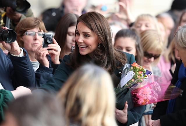 Kate greets well-wishers. (PA Images)