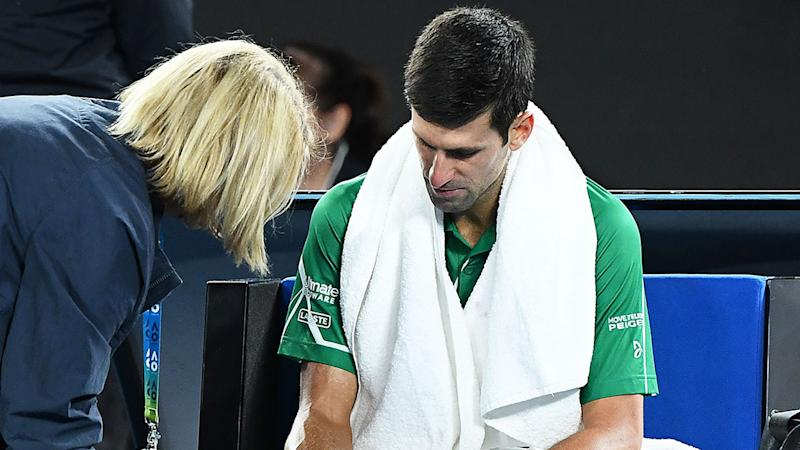 Novak Djokovic called a medical timeout after receiving treatment during the Australian Open final. Pic: Getty