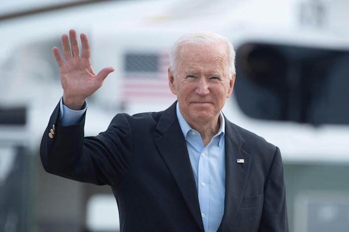 President Biden boards Air Force One at Andrews Air Force Base in Maryland before departing for the U.K. and Europe to attend a series of summits on June 9, 2021. / Credit: BRENDAN SMIALOWSKI/AFP via Getty Images
