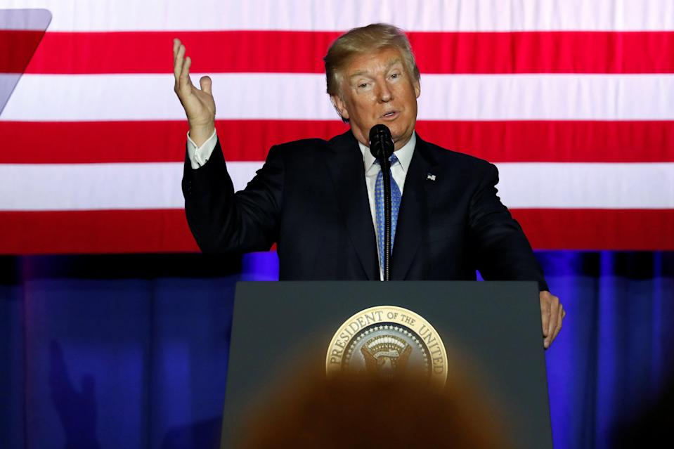 U.S. President Donald Trump delivers remarks on proposed changes to the U.S. tax code at the state fairgrounds in Indianapolis, Indiana, U.S. September 27, 2017. REUTERS/Jonathan Ernst
