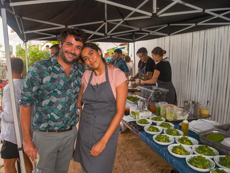 George Sotelo and Daniela Soto-Innes attend Cosme and Atla's brunch at Surf Lodge in Montauk, New York.