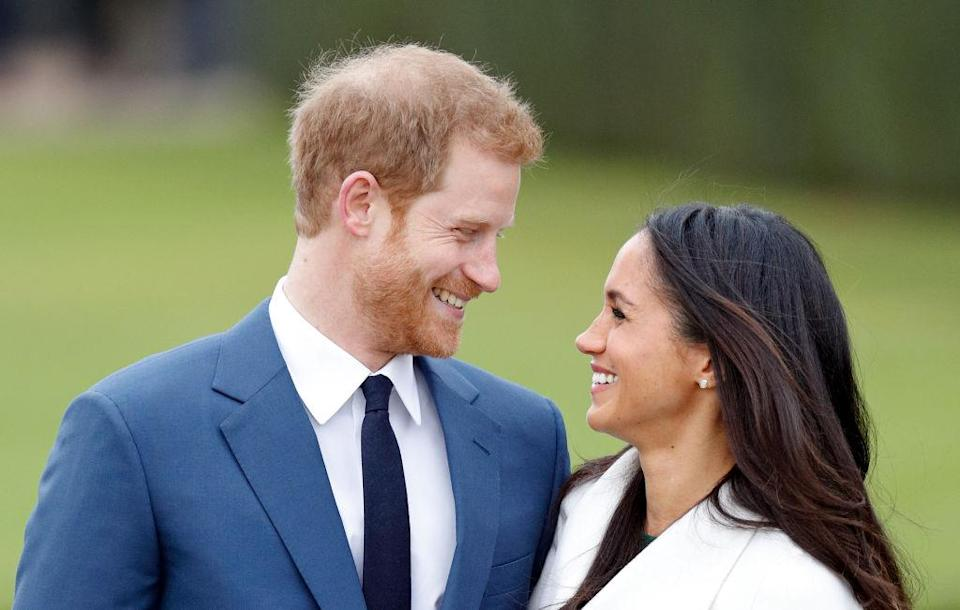 The happy couple at their official engagement photocall yesterday [Photo: Getty]