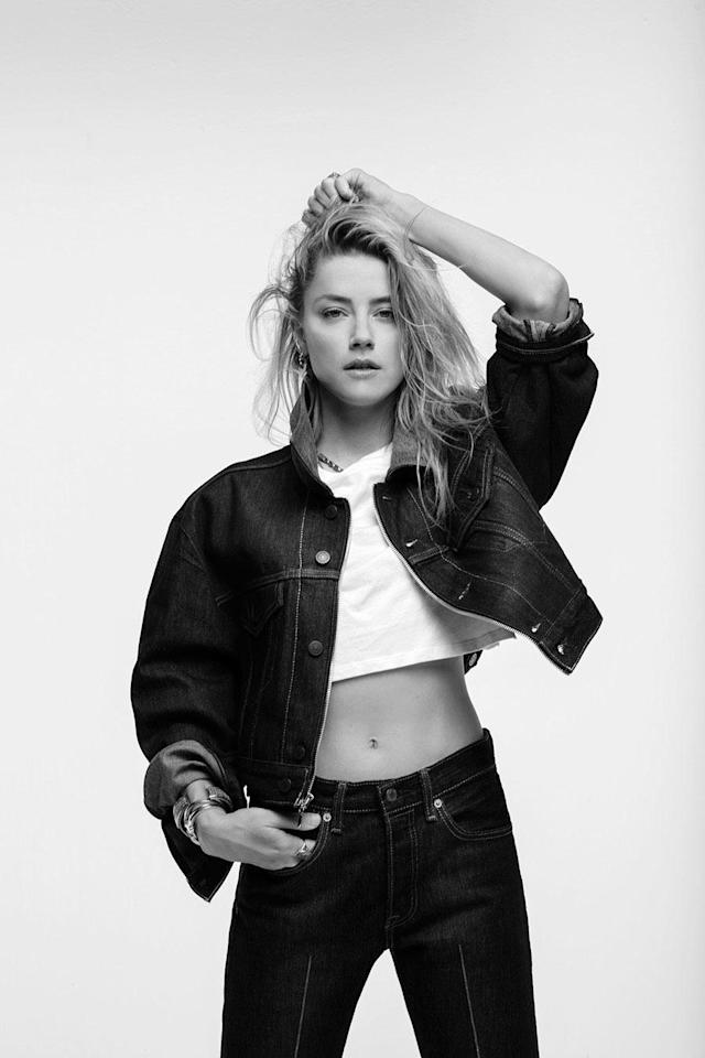 <p>Amber Heard wears the Levi's x karla Oversized Crop and Pleated. (Photo: Courtesy of Levi's) </p>