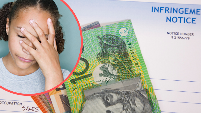 Pictured: Woman with head in hands, Australian fine notice. Images: Getty