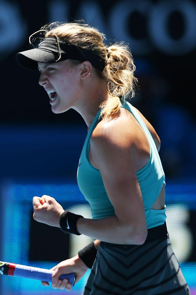 MELBOURNE, AUSTRALIA - JANUARY 21: Eugenie Bouchard of Canada celebrates winning the second set in her quarterfinal match against Ana Ivanovic of Serbia during day nine of the 2014 Australian Open at Melbourne Park on January 21, 2014 in Melbourne, Australia. (Photo by Mark Kolbe/Getty Images)