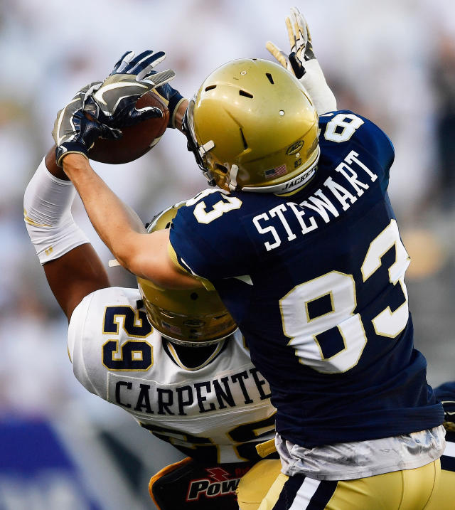 Georgia Tech's Tariq Carpenter (29) intercepts a pass intended for Brad Stewart during the NCAA college football team's spring scrimmage Friday, April 20, 2018, in Atlanta. (AP Photo/Mike Stewart)