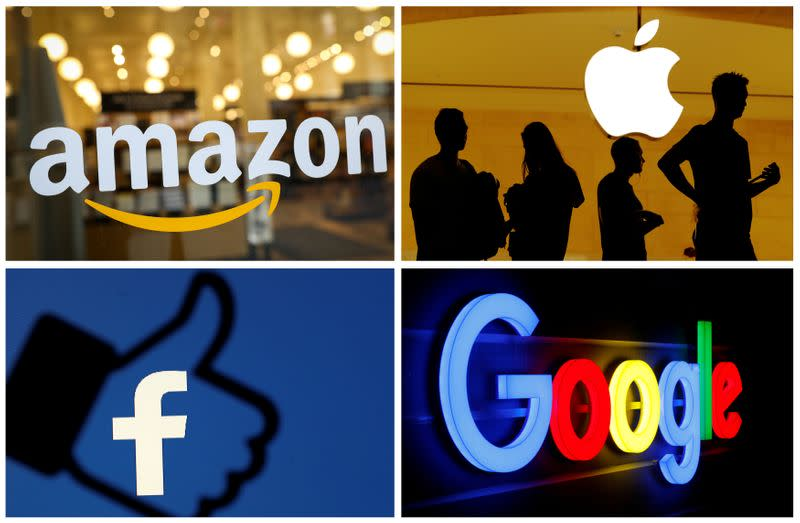 The logos of Amazon Apple Facebook and Google
