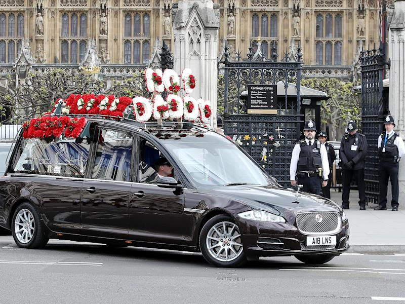 The funeral cortege of PC Keith Palmer makes its way from The Palace of Westminster to Southwark Cathedral (Getty)