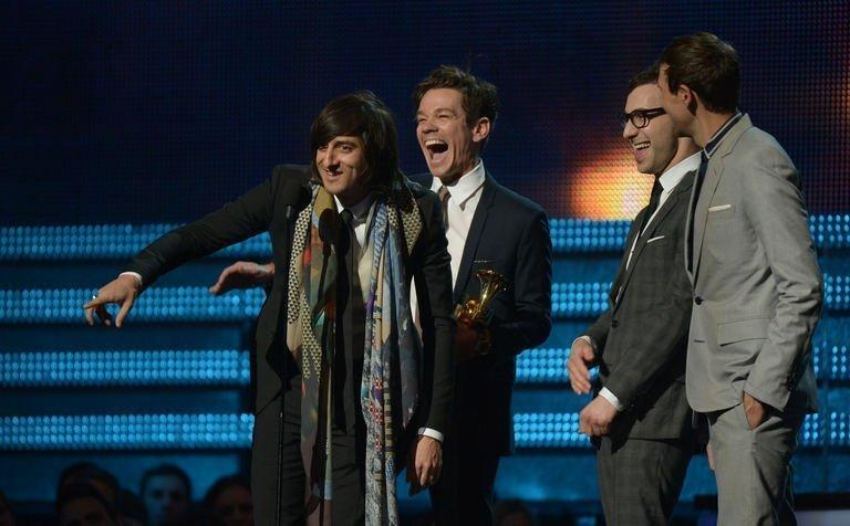 fun. receive their Grammy for Song of the Year at the Staples Center during the 55th Grammy Awards in Los Angeles, California, February 10, 2013