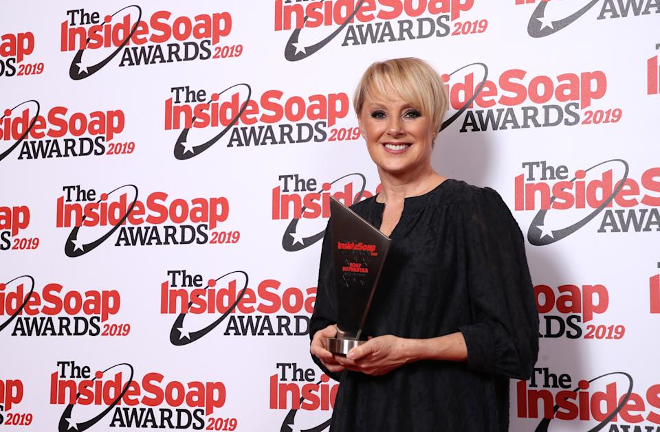 LONDON, ENGLAND - OCTOBER 07:  Sally Dynevor attends the Inside Soap Awards at Sway on October 07, 2019 in London, England. (Photo by Mike Marsland/WireImage)