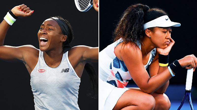 Pictured here, Coco Gauff celebrates as a shattered Naomi Osaka reflects on defeat.