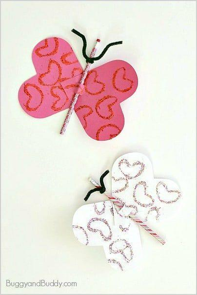 """<p>Decorate heart-shaped construction paper wings with glitter and thread them through a pretty pencil. Use a pipe cleaner for antennae. Make a batch for perfect holiday favors or classmate gifts.</p><p><em><a href=""""https://buggyandbuddy.com/butterfly-pencil-valentine/"""" rel=""""nofollow noopener"""" target=""""_blank"""" data-ylk=""""slk:Get the how-to at Buggy and Buddy»"""" class=""""link rapid-noclick-resp"""">Get the how-to at Buggy and Buddy»</a></em><br></p>"""