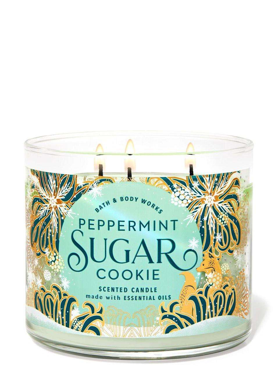 "<p><strong>Bath & Body Works</strong></p><p>bathandbodyworks.com</p><p><strong>$24.50</strong></p><p><a href=""https://www.bathandbodyworks.com/p/peppermint-sugar-cookie-3-wick-candle-026178781.html"" rel=""nofollow noopener"" target=""_blank"" data-ylk=""slk:Shop Now"" class=""link rapid-noclick-resp"">Shop Now</a></p><p>I have nothing else to say other than this smells like a mint Milano and I LIKE IT A LOT, OKAY?</p>"