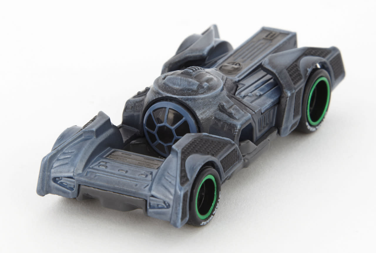 <p>The angled arrays of Darth Vader's TIE Advanced are reflected in the stylized fenders of this vehicle, which presumably is powered by a combo of high-octane gasoline and the Dark Side.</p>