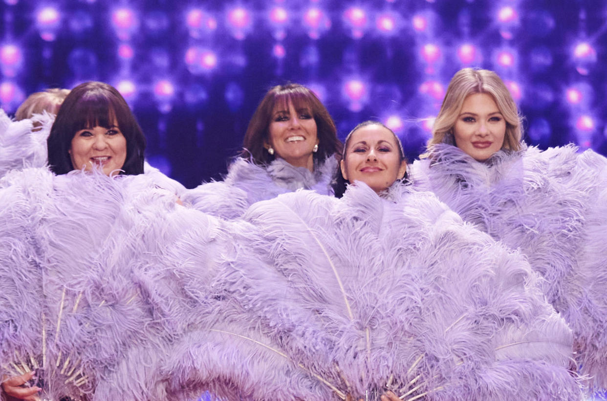 Coleen Nolan with Linda Lusardi, Hayley Tamaddon and Shaughna Phillips in 'The Real Full Monty On Ice.' (ITV)